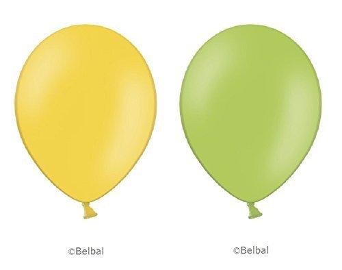 Belbal 25 X Verde Lima & 25 X Amarillo Globos - 12' Pulgadas - Fiesta / Eventos/Bodas/ Cumpleaños - Látex para Helio o Aire
