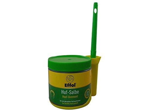 Set Effol Huf - Salbe in grün + Effol Pinsel - Fix - Hufsalbe mit Vaseline und Lorbeeröl 500 ml ein ganzjähriges Pflegeprodukt für hohe Belastbarkeit der Hufe - Original Salbe Tube