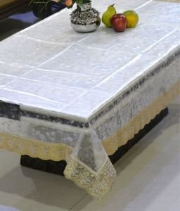 Transparent Dining Table Cover 6 Seater 3D Print with Golden Lace 54 X 78 inches  available at amazon for Rs.639