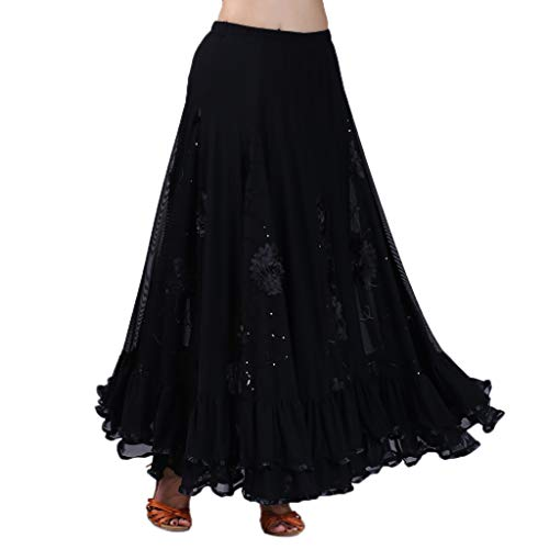 IPOTCH Falda Larga de Mujer Cintura Alata Elástica con Flores Bordadas Lentejuelas Traje para Baile Fiesta Cóctel - Negro, como se describe