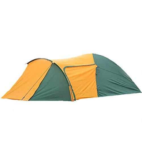 ASDAD 3-4 Personen Familiengruppe Tunnelzelt Mit Sonnendach 130 cm Höhe Camping Festival Wasserdichtes Zelt 3000 Mm Wassersäule Orange + Grün