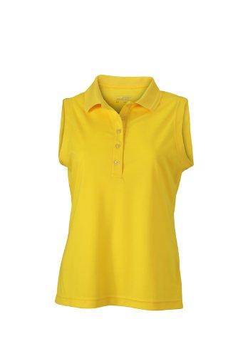 JAMES & NICHOLSON Polo Ladies Active Sleeveless - Polo de Maternité - Femme Jaune (Sun-Yellow)