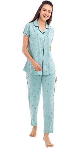 ZEYO Little Heart Pastel Night Suit & Night Shirt for Women's   Blue Front Open Night Dress with Dot Print   Pure Cotton Night wear   Top and Pyjama Set with Half Sleeve :ZNS-1070GR (Size:XL)