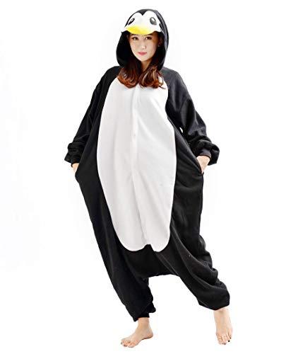 SAMGU Pinguin Unisex Adult Tier Onesie Pyjama Kostüm Kigurumi Schlafanzug Erwachsene Tieroutfit Jumpsuit Farbe Schwarz Größe ()