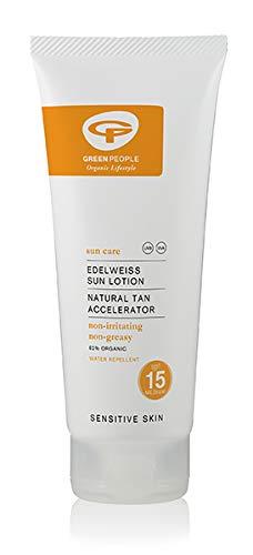 Green People - Sun Care - Edelweiss Sun Lotion SPF 15 Natural Tan Accelerator - 200ml (Case of 6) - Green People Sun Care