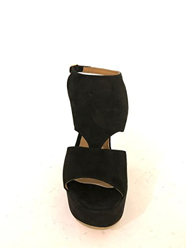Sandali tacco alto Nn873 in pelle nero eleganti plateau zeppe MainApps Nero