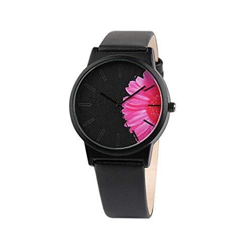Laile Damen Uhren 2019 Neu einfache Art und Weise ohne Skala beiläufige Blumendruck-Vorwahlknopf-Gurt-Quarz-Frau-Uhr mit Leder Uhrenarmband klassischer Design Uhren