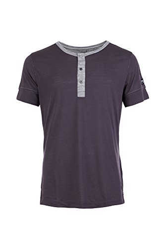 super.natural Herren M Comfort Henley Merino T-Shirt, Grey Brown/Ash Melange, 52.0