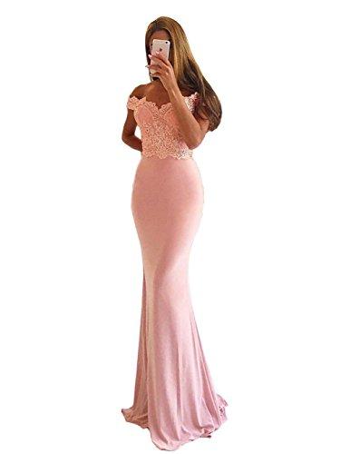 Off Schulter Spitze Applikationen Meerjungfrau kleid Rosa formalen Abend-Abschlussball-Kleider US8 (Kleid Formalen Abendkleid)