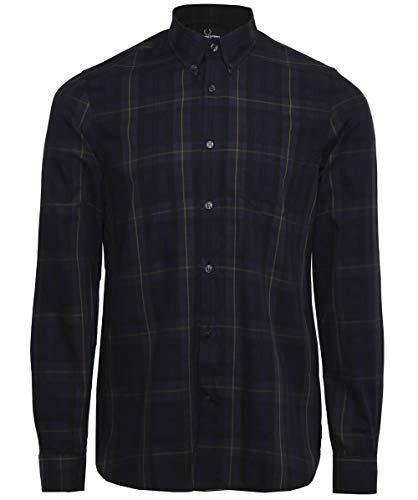 Streifen Button-front Shirt (Fred Perry Herren Kontrast-Streifen Tartan Shirt XL Navy)