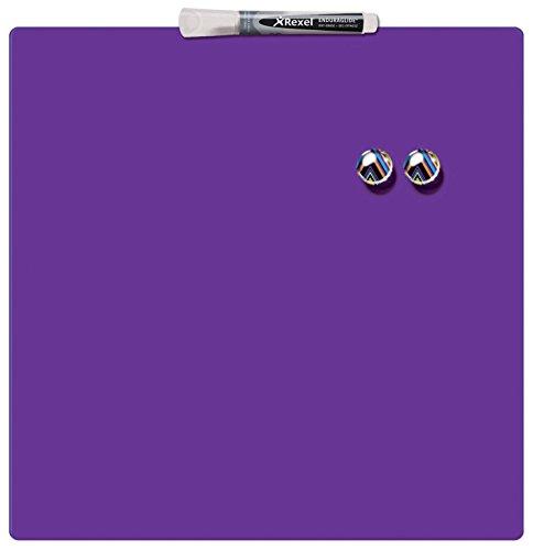 Rexel Magnetische, Trocken Abwischbare Tafel, Rahmenloses Quadrat, 360 x 360 mm, Inkl. Marker, Magneten und Montage-Kit, Violett, 1903897
