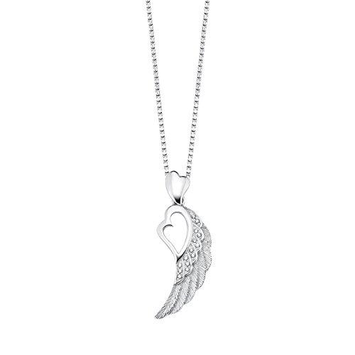 S.Oliver Damen Kette mit Flügel und Herz-Anhänger 925 Sterling Silber rhodiniert Zirkonia 45 cm weiß
