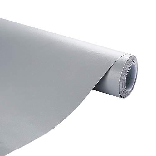 KINLO Folie PVC 2 PCS 5x0.61M Grau selbstklebend Möbel verschönen Anti Schimmel ohne Glanz Dekofolie Stickerfolie für Schrank