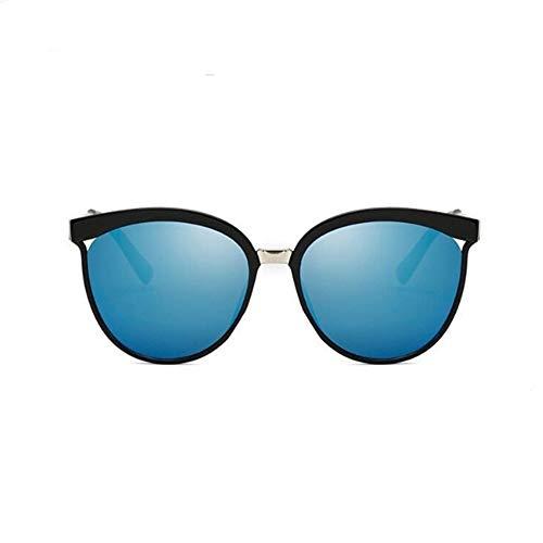 Klassische Einfache Cat Eye Sonnenbrille Frauen Luxus Kunststoff Sonnenbrille Klassische Retro Uv400 (Lenses Color : Blue Lens)