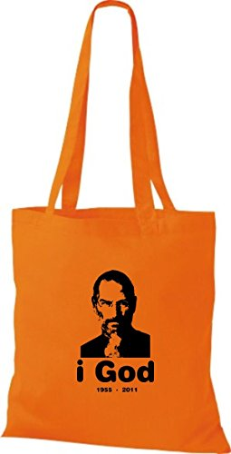 Baumwolltasche ShirtInStyle Beutel Farbe in Jobs Steve Stoffbeutel diverse orange Memory of 1rTwfT60Yq