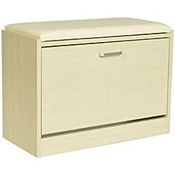ts-ideen Zapatero armario fibra de madera roble con asiento