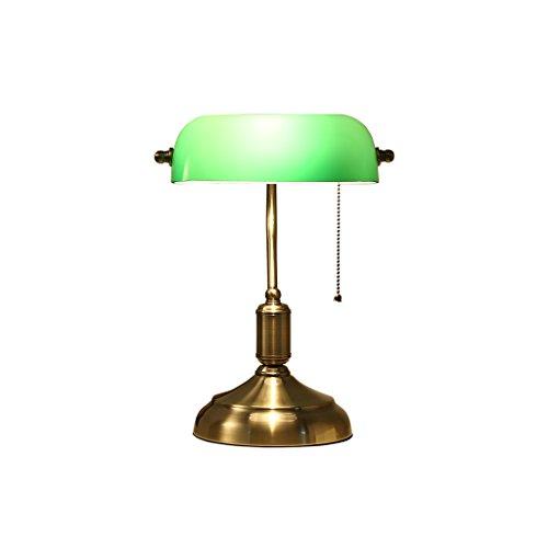 Lampe De Table Lampe de bureau traditionnelle rétro de banquiers de lampes de bureau avec le verre vert d'ombre de cuivre 18 * 37 * 26cm