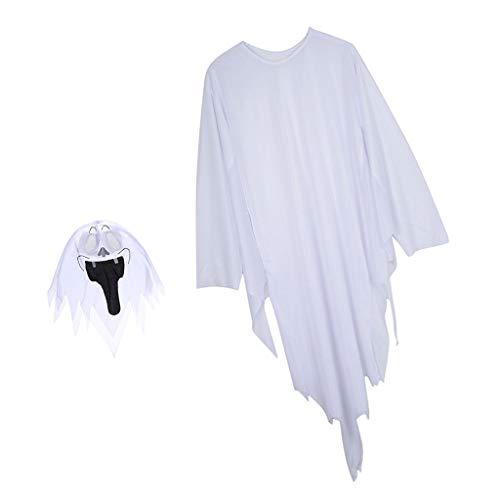 Baoblaze Geist Umhang + Maske Set Cosplay kostüm für Halloween Karneval und Party - 120 cm