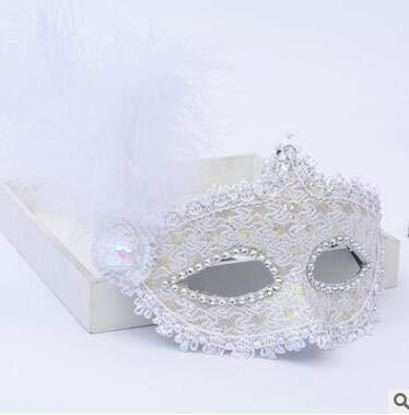 TWELVEMJ Frau Mädchen Federmaske Spitze gesäumt Perle Partei Maske venezianischen Kostüm Ball Bar Maskerade Geschenk Halloween-Dekor, 4-Stil - Spitze Gesäumt