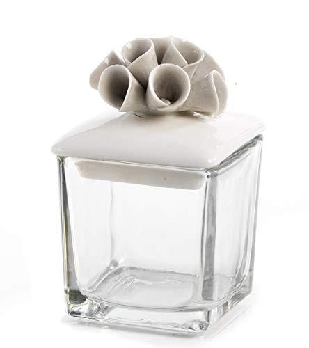 6 pezzi bomboniera scatolina portaconfetti in vetro con coperchio e fiori in porcellana per matrimonio comunione cresima compleanno