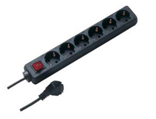 REV Ritter 0512380555 Steckdosenleiste 6 fach mit Schalter KS 1.4 m, schwarz