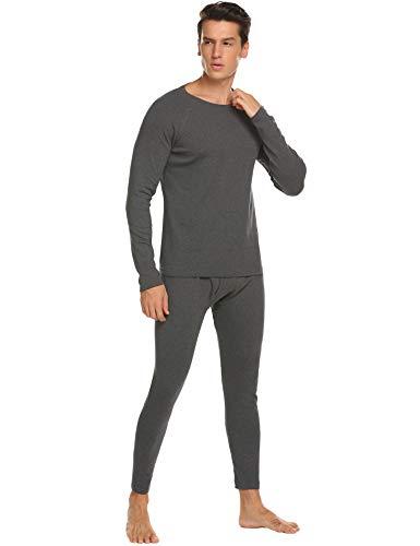 MAXMODA Herren Schlafanzug Thermo Unterwäsche Lange Unterhose Langarm Unterhemd Seamless Grau M