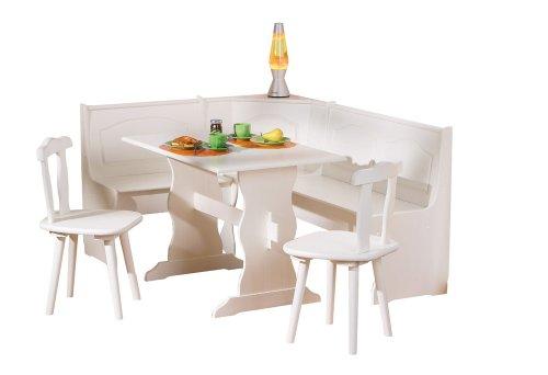 Inter Link Alpine Living Eckbank Gruppe Tisch Stühle Kücheneckbank Sitzbank Esszimmer Kiefer Massivholz Weiss lackiert -