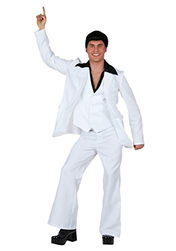 Saturday Adult Kostüm Night Fever - Adult Deluxe Saturday Night Fever Fancy Dress Costume Medium