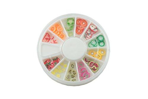 N&BF Fimo Rondell | 120 Nailart Fimo Früchte Scheiben | bunte Fruchtscheiben Einleger für 3D Nageldesign und Dekoration | Für Modellagen mit UV Gel & Acryl | In praktischer Sortierbox