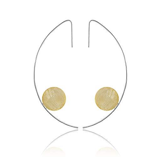 Lotus Fun S925 Sterling Silber Ohrringe Moderner Minimalismus Runde Tropfen Ohrringe Kreativ Natürlicher Handgemachter Einzigartiger Schmuck für Frauen und Mädchen