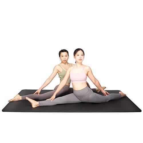 YUREN Weiche Yogamatte Groß und Breit 200 x 130 cm Extra Dick 15mm NBR rutschfest Schadstofffrei Cardio Pliates Corssfit Yoga Matten Gymnastikmatte XL -Schwarz