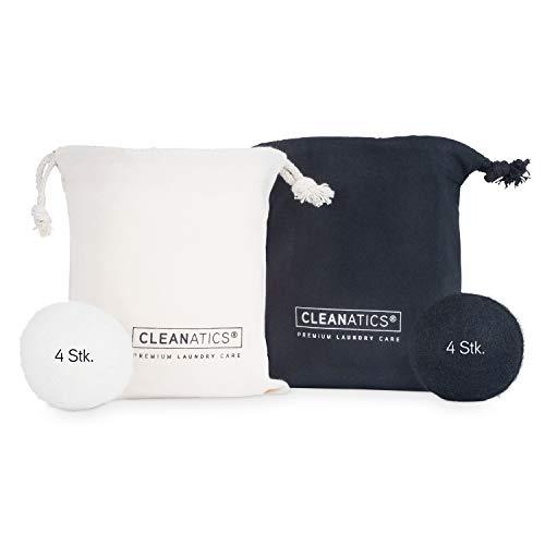 CLEANATICS 8er-Set Trocknerbälle schwarz & weiß für Wäschetrockner - Filzbälle aus natürlicher Schafswolle - ideal für Daunenjacke, Daunendecke, Daunenkissen & Daunenbettdecke (70mm Ø)