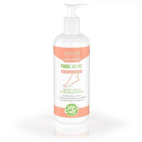 Believa Natural Intensiv Fusscreme für trockene, raue und rissige Füsse. 500ml Vegane Fußpflege Creme die Hornhaut und Schrunden wirkungsvoll reduziert.