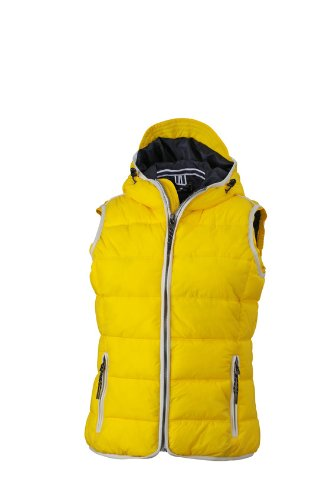 James & Nicholson Damen Jacke Weste Ladies' Maritime Vest gelb (Sun-Yellow/White) Large