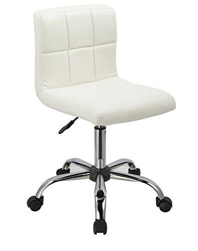 Drehstuhl Arbeitshocker mit Rollen in Weiß aus Kunstleder Hocker Schreibtischstuhl Duhome 0302