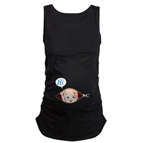 UFODB Schwangere Tshirt, Frauen T-Shirt Kostüm Sommer Lustige Weste Tops Damen Baby Tank Top Oberteil T-Shirts Cute Mutterschaft Kleidung Stillshirt (Frauen Kostüme Schwangere Für Lustige)