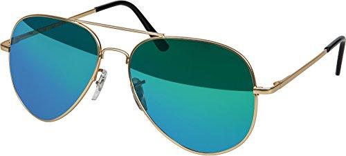 Balinco Hochwertige Pilotenbrille Sonnenbrille 70er Jahre Herren & Damen Sunglasses Fliegerbrille verspiegelt (Gold/Matt-ICE)