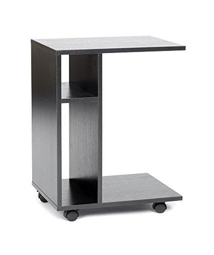 ts ideen Tavolino da caffé Carrello Mobiletto in legno stile moderno con rotelle. Nero.