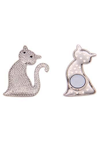 Leslii Damen-Pin Magnet-Anstecker Glitzer Katze Katzen-Brosche Modeschmuck Silber