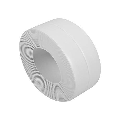 Striscia adesiva autoadesiva 3,2 metro autoadesivo sigillante caulk muro di piastrelle muro bordo taglierina bordo per bagno cucina bianco/grigio(38mm*3.2m-bianco)