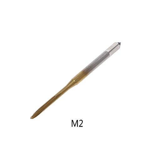 Cuigu Gewindebohrer metrisch HSS M2 M2.5 M3 M3.5 M4 M5 M6, Gold, M2