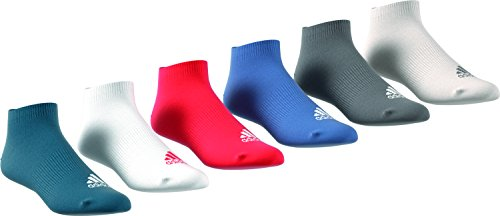 adidas Herren 6 Paar Performance No-Show Socken, Top:Real Teal/White/Hi-Res Red/Trace Royal Bottom:Grey Four/Chalk Pearl, 39-42