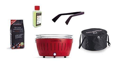 LotusGrill à Kit de Démarrage 1x LotusGrill XL Rouge feu 1x Charbon de bois de hêtre 1kg,1x Pâte brûlante 200ml,1x Pinces à saucisses Mauve,1x sac de Transport XL