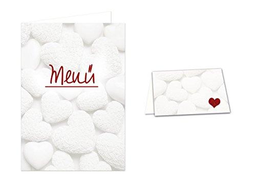 DIY Tisch-Deko-Set (für 25 - 30 Gäste): WEISSE HERZEN roter Text Menü: 32 Tischkarten + 12 Menü-Karten für Hochzeit, Kommunion, Geburtstag, Taufe, zum selber-machen-drucken-beschreiben