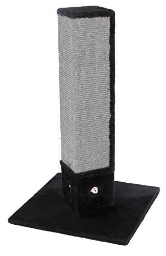 Kerbl Kratzbaum 4-Corner, 4-eckige Kratzsäule mit Sisal in schwarz-grau, mit Spielmäusen, Höhe 80 cm