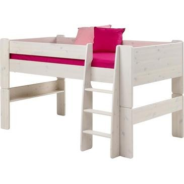 Steen's Kids Mid-Sleeper Frame in White Wash Without Pockets Without Tunnel Blue Tent - cheap UK light store.