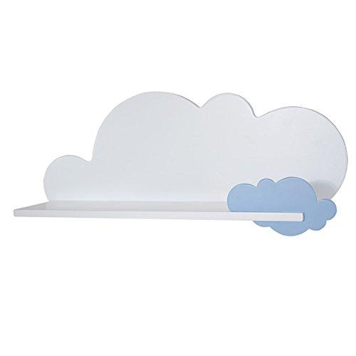 Bainba Estante, Diseño Nube, Madera, Azul, 69x20x26 cm