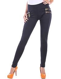 BD Damen High Waist Stretch Hose Jeggings Röhrenhose in schwarz, grau, weiß, blau oder beige mit Zierzippern bis Übergröße