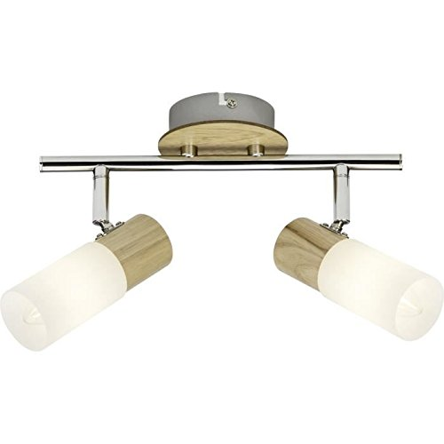 Brilliant 51413/50babsan plafón con 2luces, Metal/Madera/Plástico, E14, 3W, madera claro/blanco