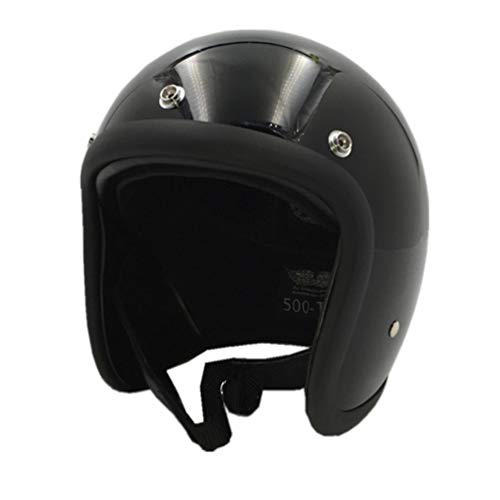 Qianliuk Open Face Motorradhelm Vintage Motorradhelm Chopper Stil Retro Helme FüR Glocken Helm